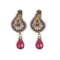 Rajwada Arts Fancy Drop Earring With Ruby Light Stone