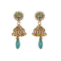 Rajwada Arts Fancy Drop Earrings With Green Stone