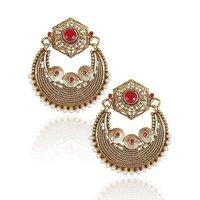 Rajwada Arts Fancy Chaandbali Earring With Red Stone