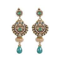 Rajwada Arts Fancy Oxidized Drop Earrings With Green Stones