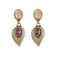 Rajwada Arts Fancy Drop Earrings With Red Stone And American Diamond - 5241972