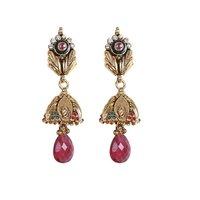 Rajwada Arts Fancy Drop Earrings With Red Stone