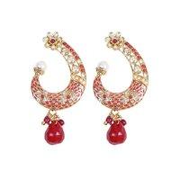 Rajwada Arts Fancy Earring With Red Stone And Pinkish Enamel