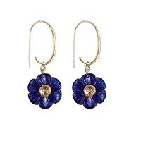 Rajwada Arts Fancy Flower Earring In Blue Stone