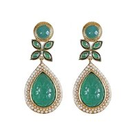 Rajwada Arts Fancy Exclusive Green Stone Earring With Carving