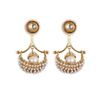 Rajwada Arts Fancy White Color Drop Earring With White Stones