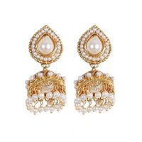 Rajwada Arts Trendy White Color Jhumki With White Stone