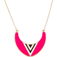 Habors Pink Half Moon Pendant Long Chain Necklace