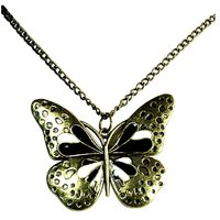 Habors Black Butterfly With Golden Wings Long Necklace