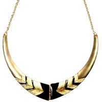 Habors Gold With Black Aztec Print Choker Necklace