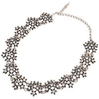 Habors Antique Silver Floral Choker Necklace