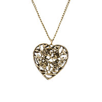 Habors Gold Rhinestone Roses Heart Long Necklace