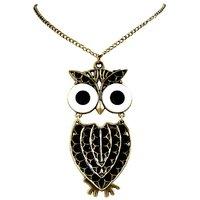 Habors Black Oversized Owl Pendant Long Necklace