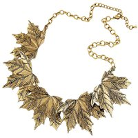 Habors Antique Gold Maple Leaves Statement Choker Necklace