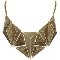 Habors Antique Gold Pyramids Statement Choker Necklace