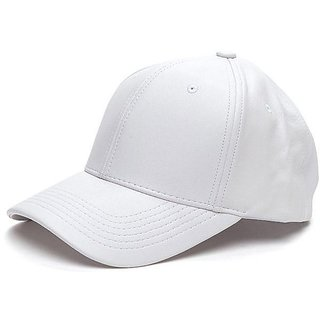 Fashionable Plain White Leather Baseball Cap For Men And Women