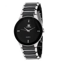 Iik Black Silver Metal Analog Round Casual Watch For Men