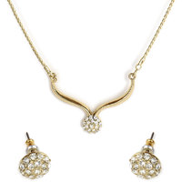 The Pari Golden Alloy Non Plated Necklace Set For Women