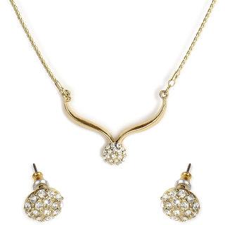 The Pari Golden Alloy Non Plated Necklace Set For Women