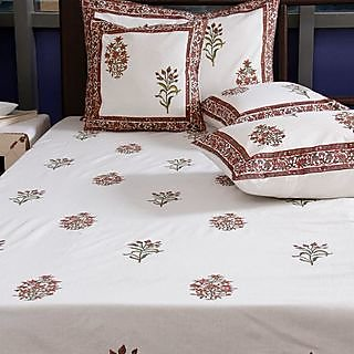 Cotton Bedsheet with Maroon Flower Block Print with Cusion Covers & Pillow Covers