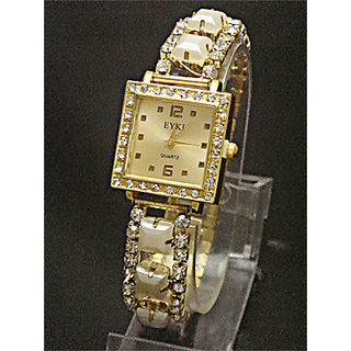 Golden Diamond Dial Stretchable Belt Ladies Watch
