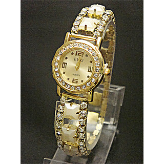Golden Diamond Dial Stretchable Belt Ladies Watch - 5289960
