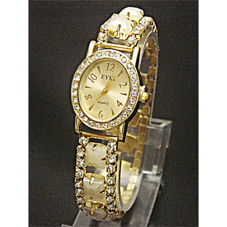Golden Diamond Dial Stretchable Belt Ladies Watch - 5289996