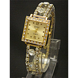 Golden Diamond Dial Stretchable Belt Ladies Watch - 5290028