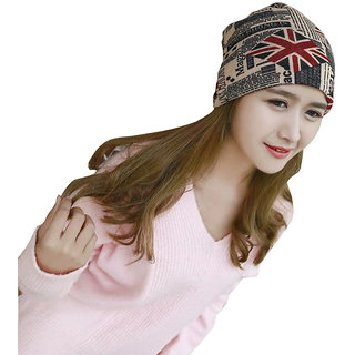 Modo Vivendi Unisex Winter Warm 2 Use Cap Knitted Scarf Winter Hats for Men Women Letter Beanies Khaki And Red Color