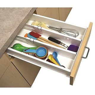 Set Of 2 Snap Fit Drawer Dividers Storage Organizer