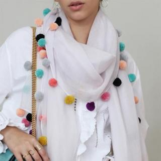 VeroniQ brand - White/Beige Satin/Chiffon Scarf/Stole with Multicoloured Pom Pom Trim - 1 Qty-Assorted