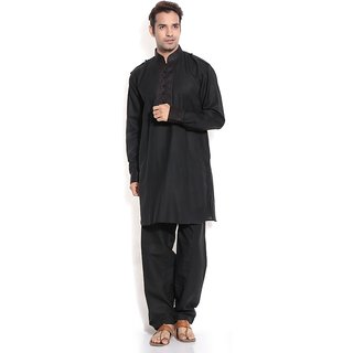TwoPeople India Black Pathani Suit