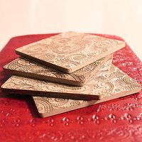 Oriental Paisleys Engraved Wooden Coasters (Set Of 4)