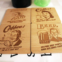 Retrophilia Engraved Wooden Coasters (Set Of 4)