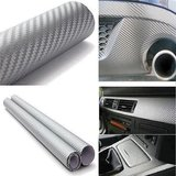 12x24 3D Silver Carbon Fiber Vinyl Car Wrap Sheet Roll Film Sticker Decal