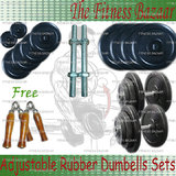 "30 KG RUBBER PLATES + DUMBELL RODS 14"" + HAND GRIPPER WOODEN"