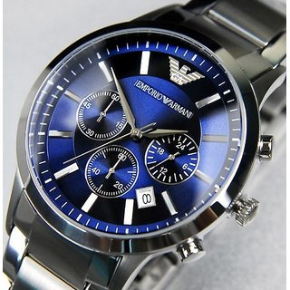 Emporio-Armani-AR-2448-Blue-Dial-Chronograph-Wrist Watch For Men 2 Years Warranty (with Bill)