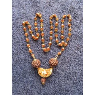 SCS Energized JAVA Rosary One 1 Ek Mukhi Face Rudraksha Bead With Mala In Gold Plated Cap With 5 mukhi