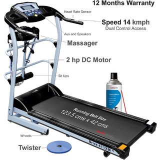 Healthgenie 4in1 Motorized Treadmill 4112M with Massager Tummy Twister Treadmill Oil 550ml Max Speed 14 Kmph