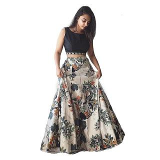 Sarees Trends fabrics Multicolored Lace work Crepe Stitched Lehenga