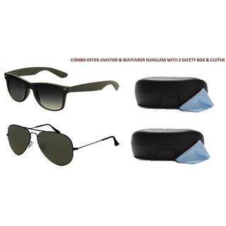 Combo 2 Sunglasses Aviator & Wayfarer With Box - 5333600