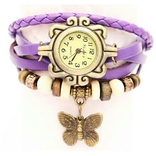 Vintage Antique Retro Trendy Ladies Bracelet Watch - Purple