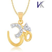 V. K Jewels OM SHAPE Pendant gold and Rhodium plated -  PS1028G
