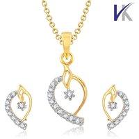 V. K Jewels Mango Shaped Gold Pendant set with Earrings -  PS1020G