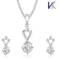 V. K Jewels Demure (Shy and Reserve) Rhodium Plated Solitaire Pendant Set With Earrings-PS1027R