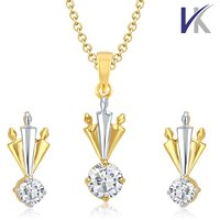 V. K Jewels Majestics Drop Gold and Rhodium plated Solitaire Pendant set with Earrings -  PS1034G