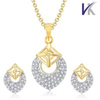V. K Jewels Blossom Cherry Gold And Rhodium Plated Pendant Set With Earrings -  PS1035G