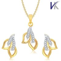V. K Jewels Two Leaf Gold and Rhodium plated Pendant set with Earrings -  PS1036G