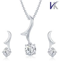 V. K Jewels  Rhodium Plated Solitaire Pendant with Earring Set-PS1039R