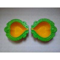Decorative Clay Diya Yellow And Green Set Of 10